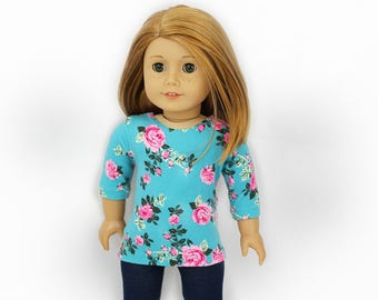 """Floral Top and Leggings for 18"""" vinyl play dolls such as American Girl or Our Generation"""