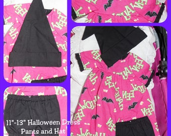 11 - 13 inch Baby Doll Clothes - Dress, Pants and Hat - Halloween - Witch Outfit - Pink with Black Bats