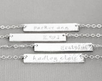 Nameplate Necklace, Custom Name Necklace, Sterling Silver Name Bar, Horiztonal Bar, Hand Stamped Personalized Jewelry
