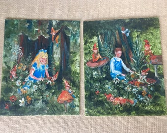 Vintage Oil Paintings on Canvas Original Art Forrest Fairies and Children