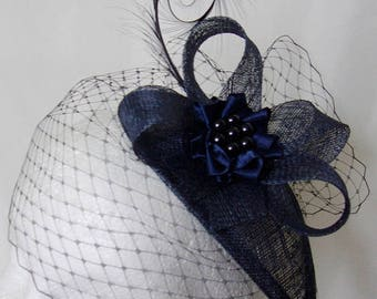 Light Navy Blue Veiled Vintage Style Curl Feather & Pearl Teardrop Fascinator Percher Mini Hat Wedding Ascot - Made To Order
