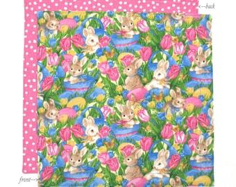 Easter Bunny Napkin, Kids Cloth Napkin, Fabric Napkin, Easter Napkin, 1 double sided 12 inch napkin