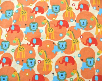 Cotton Quilt Fabric, 1-1/4 yard Quilting Fabric, Jungle Animals Print, Baby Cotton Quilt Fabric Yardage