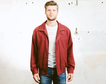 Vintage Men's Faux Suede Jacket . Mens Red Garage Jacket Western Coat Long Jacket 1980s Outerwear 80s Oversized Jacket . size Large