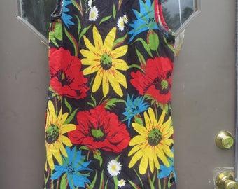 60S  moed hippie  summer flowers Button up side shift dress beach dress  by Katz LAZY GOWN