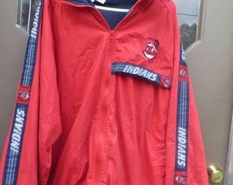 VTG   oversized   pRO pLAYERS  MLB CLEVELAND  iNDIANS cotton poly full zipper  hooded  embroidered windbreaker jacket sz xlarge