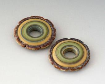 Rustic Ruffle Discs - (2) Handmade Lampwork Beads - Yellow, Green