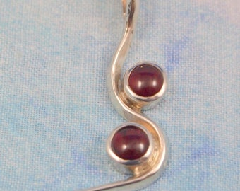 Garnet Pendant in Sterling Silver