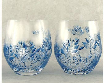 Hand Painted CRYSTAL Glasses, Set of 2 - Silver and Blue Roses - Hand-Painted 25th Anniversary Gift Idea Cocktail Glass