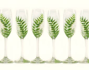 6 Bridesmaids Woodland Wedding Glasses - Hand-Painted Lush Green Ferns - Personalized Rustic Wedding Flutes
