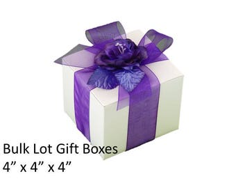 "4"" x 4"" White Gift Boxes 5x Boxes Bulk Lot - Bachelorette Gift Boxes, Anniversary Party Gift Boxes, Stocking Stuffer Gift Boxes"
