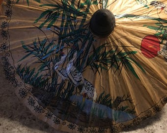 Vintage Hand Painted Bird Paper Thailand Umbrella