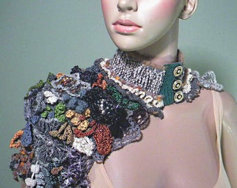 ROMANTIC SCARFLETE/COLLAR - Wearable Art, Fiber Jewelry, Freeform Crocheted. Exquisitely Embellished & Beaded, Hand Crafted Flowers