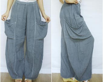 Take Me Home...Blueish Dark Gray Double Gauze Cotton Pants With 2 Roomy Patched Pockets