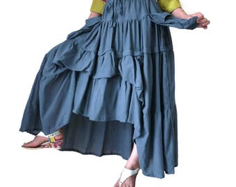 2 In 1 Take Me To Your Heart ... Steampunk Short Front/ Long back Tiered  Dusty Airforce Blue Light Cotton Skirt With 2 Roomy Pockets