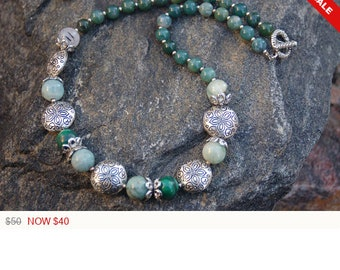 """Malachite and Silver Necklace, """"The Enlightened Empathizer"""""""