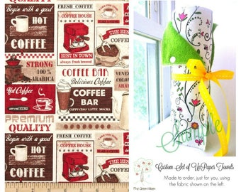 Unpaper Towels | Snapping Reusable Paper Towels | Eco Friendly Cloth Paper Towels | Coffee Patchwork | Coffee Lovers | Half Set of 6