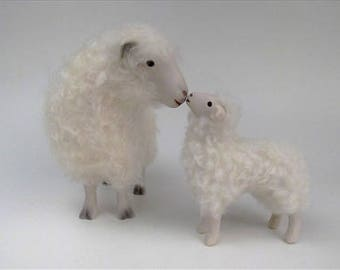 Handcrafted Porcelain and Wool Cotswold Sheep Figure Kissing Her Lamb 5 1/2""