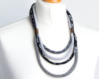 Textil necklace, Multistrand necklace, FABRIC necklace, fabric jewelry, fashion gift ideas, textile necklace, necklace, gray necklace