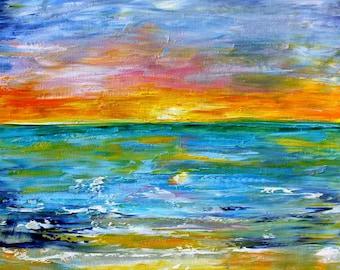 Sunrise Sunset painting Original oil landscape palette knife impressionism on canvas 24x20 fine art by Karen Tarlton