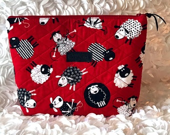 Circular Knitting Needle Case - Zipper Pouch - Made to Order - Choose Any Fabric in My Shop or Choose Red & Black Sheep