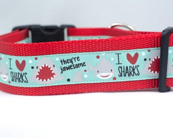 I Love Sharks Dog Collar - 1.5 inch wide - buckle or martingale collar - ocean dog collars - nautical collar - boy dog collar - shark collar