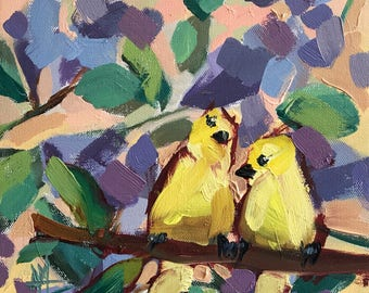 Two Yellow Birds Original Oil Painting by Angela Moulton 10 x 10 inch on Canvas pre-order