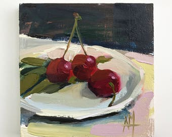 Three Cherries on Plate no. 6 Original Oil Painting by Angela Moulton pre-order