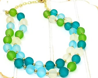 Blue Green Chunky Bead Necklace, Collar Necklace, Short Wedding Necklace, Gift for Her, ChristalDreamz Layering Necklace, Girlfriend Gift
