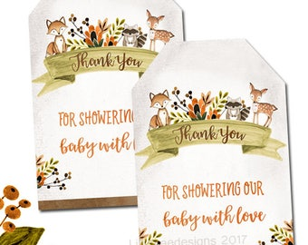 Woodland Favor Tag, Baby Shower Printable Favor Tags, Party Favor, Gift tag, woodland party favor, woodland tag, fox, baby boy, fall baby