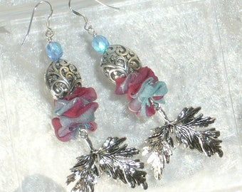 Earrings blue and plum silk and large leaves