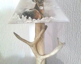 Lampshade painted foot wood deer