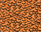 Orange Black Bats Halloween Fabric - Eerily Elegant by Deb Strain - Moda 19815 14 - 1 One Yard Cut BTY