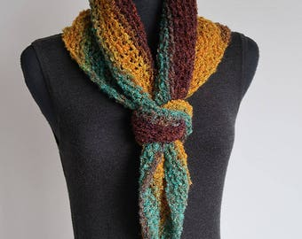 SALE - Turquoise Green Mustard Brown Cowl Kerchief Mini Shawl Collar Dickey Scarf with Crocheted Rings