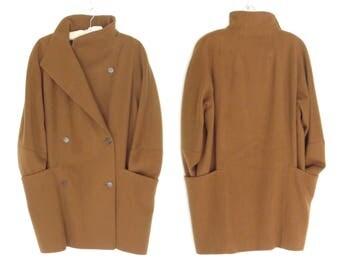 Oversized Wool Coat * Vintage 90s Wool Jacket * Cashmere Cocoon Coat * Large