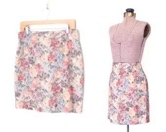 Floral Mini Skirt * Vintage 80s Mini Skirt * 1980s Floral Skirt * Medium