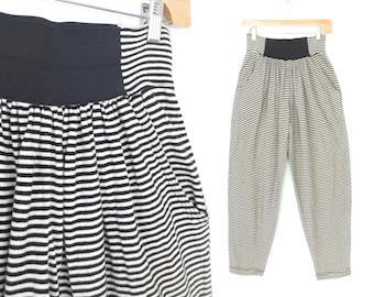 Vintage 80s Pants * 1980s Pants * Highwaist Stretch Pants * Striped Harem Pants * Small