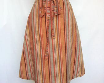 Vintage 1960s/1970s Wrap Skirt, Hand Loomed Cotton Made in India Junior Mates Classic of Boston Small