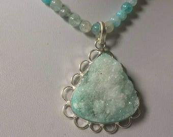 Fresh as the spring rain a light blue Druzy pendant necklace