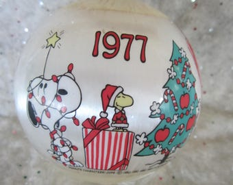 Vintage Peanuts Christmas Ornament with Charlie Brown Lucy Snoopy Dated 1977