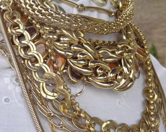 Vintage and Modern Necklace Lot - Necklaces Wearable - Craft Re-purpose Reuse - Gold Big Necklaces - Gold Tone Chains - Big 80s Jewelry N4