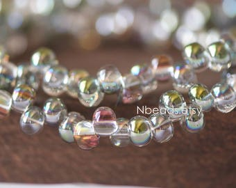 Crystal Glass Smooth Seed Beads 6mm, Sparkly Green Rose (GM018-5)/ 95 beads full strand