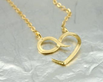 Dainty Heart Love Infinity Necklace, Gold Infinity heart Pendant, Tiny Gold Necklace, 14k Gold Filled, Delicate Pendant, Love, For Her, Gift