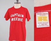 Vintage 70s red CAPTAIN FREEBIE t shirt / all cotton knit / Russel Athletic label size L