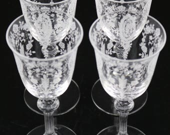 Set of 4, Tiffin June Night Etched Wine Stems