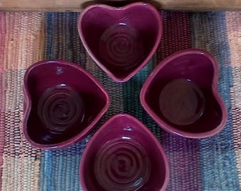 Set of 4 handmade red raspberry ceramic heart bowls - 3.75 inches - trinket dish - pottery snack dish - dresser bowl - shower gifts - bridal