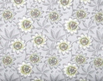 ON SALE Gray and Green Floral on a Light Gray Background 100% Cotton Quilt Fabric for Sale, Lewis & Irene's The Botanist Collection, LEIA124