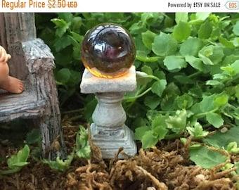 SALE Miniature Orange Gold Gazing Ball, Fairy Garden Accessory, Miniature Garden Decor, Topper