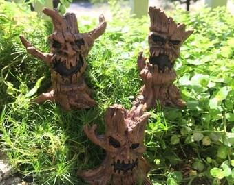SALE Miniature Spooky Tree Picks, 3 Piece Set, 3 Styles, Fairy Garden Accessory, Home and Garden Decor, Halloween, Evil Tree Picks, Toppers