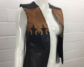 """Vintage 70s Leather Vest, Fleur de Lis, Boho Leather Craft, Hippie Leather Vest, Womens Festival Clothing, Made in Montreal Canada, B 36"""""""